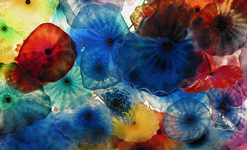 color glass flowers